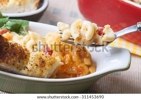 Homemade Cheesy Mac and Cheese - stock photo