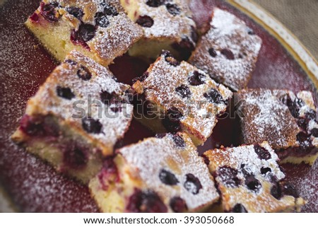 Homemade cherry cake with icing sugar-  selective focus - stock photo