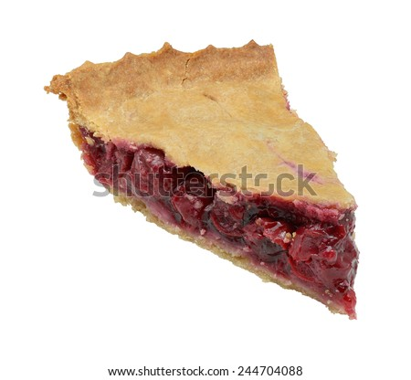 Homemade cherry pie slice isolated on a white background.  Focus stacking used for large depth of field.   - stock photo