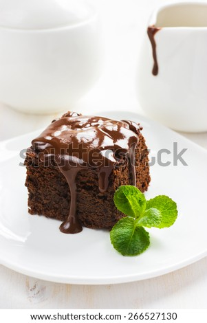 homemade chocolate brownies on white background - stock photo