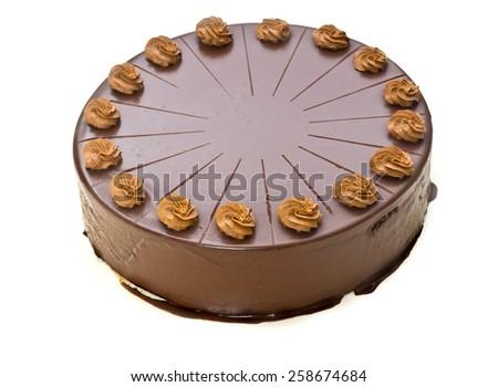 Homemade chocolate cake isolated on white - stock photo