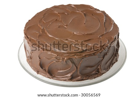 Homemade Chocolate Cake on clear platter