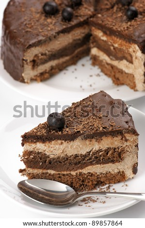 Homemade chocolate cake on white plates and spoon. - stock photo