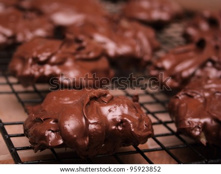 Homemade Chocolate Candy cooling on a rack.