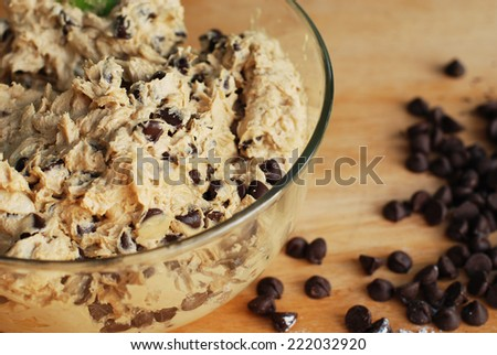 Homemade Chocolate Chip Cookie Dough in mixing bowl prepare for bake.  - stock photo