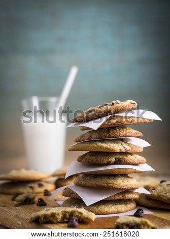 Homemade Chocolate Chip Cookies and Milk with Copy space - stock photo