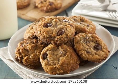 Homemade Chocolate Chip Cookies with White Milk - stock photo
