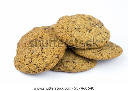 Homemade chocolate cookies on a white background