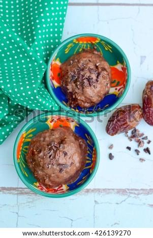 Homemade Chocolate Date Chia Seed Pudding Ice Cream - stock photo