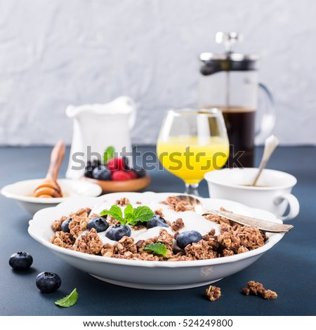 Homemade chocolate granola or muesli with yogurt and fresh blueberries for healthy morning breakfast, selective focus. Healthy food background with copy space for text.