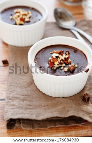 homemade chocolate pudding, food closeup - stock photo