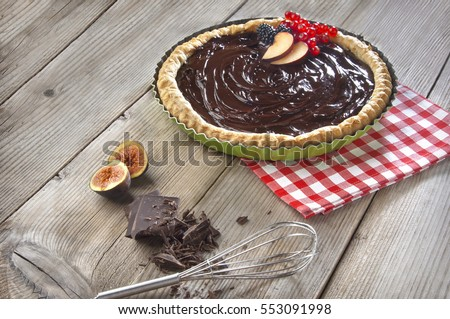 homemade chocolate tart decorated with fresh fruit