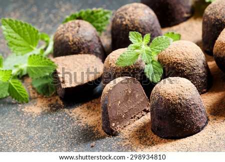 Homemade chocolate truffles with mint sprinkled with cocoa powder, selective focus - stock photo
