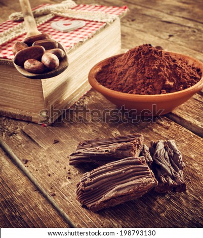 Homemade chocolate using cocoa powder and cocoa beans - stock photo