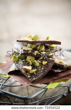 Homemade chocolate with crushed pistachios - stock photo