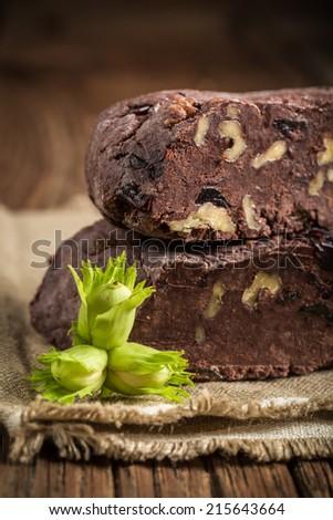 Homemade chocolate with fresh hazelnuts - stock photo