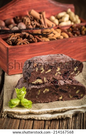 Homemade chocolate with nuts - stock photo
