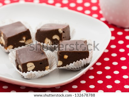 Homemade Chocolate with the hazelnut - stock photo