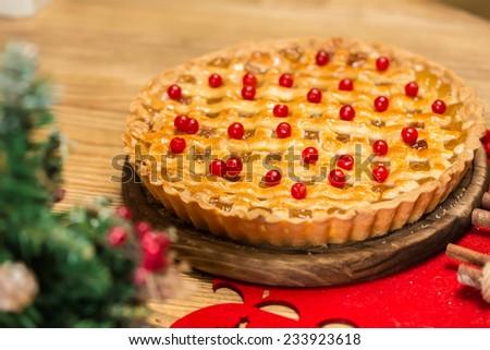 Homemade christmas cake with wild berries. Shallow dof. - stock photo