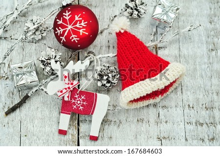Homemade Christmas decoration over wooden white background
