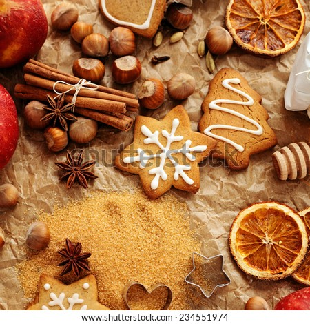 homemade christmas gingerbread cookies and spices - stock photo