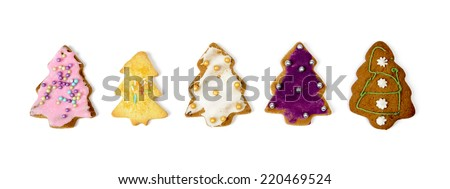 Homemade christmas gingerbread cookies on a white background with clipping path - stock photo