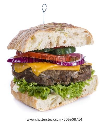 Homemade Ciabatta Burger isolated on white background - stock photo