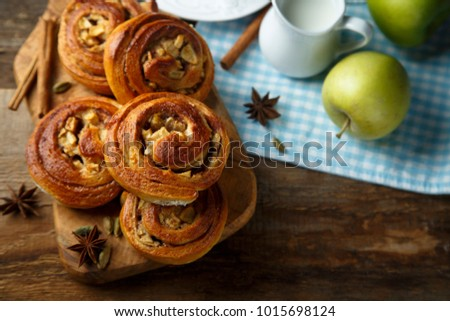 Homemade cinnamon rolls with apple