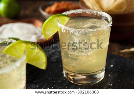 Homemade Classic Margarita Drink with Lime and Salt - stock photo