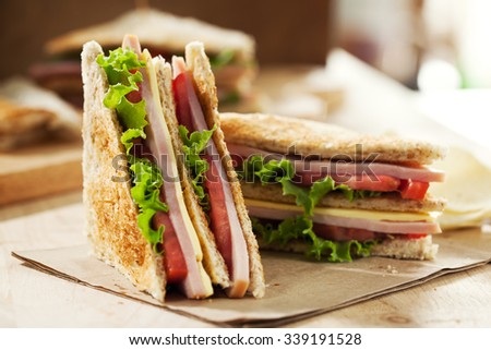 homemade club sandwich for meal - stock photo
