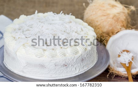 Homemade Coconut cream cake with coconut fruit - stock photo