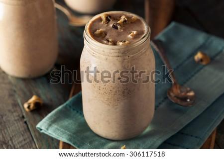 Homemade Cookie Dough Milkshake Ready to Eat - stock photo