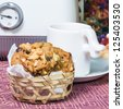 Homemade cookie in the bamboo basket - stock photo