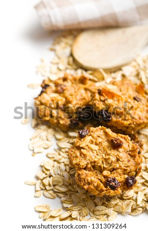 homemade cookie with oat flakes on white background - stock photo