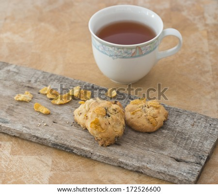 homemade cookie with oat flakes with a glass of tea