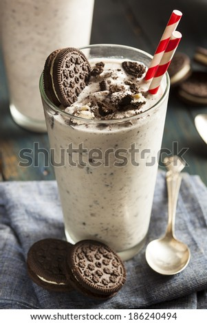 Homemade Cookies and Cream Milkshake in a Tall Glass - stock photo