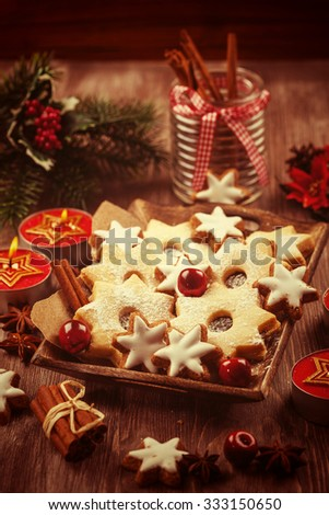 Homemade cookies in vintage look for Christmas  - stock photo