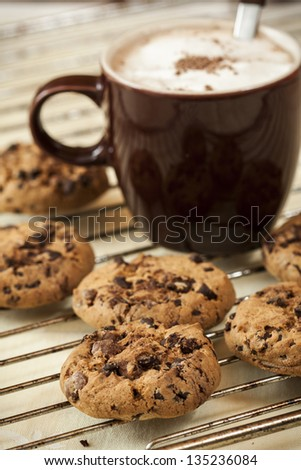 Homemade cookies with chocolate pieces in composition. - stock photo