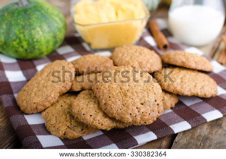 Homemade cookies with pumpkin cinnamon dip, all domestic cookies, whole grain