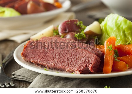 Homemade Corned Beef and Cabbage with Carrots and Potatoes - stock photo