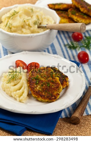 Homemade Crab Cakes. Selective focus. - stock photo