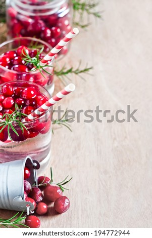 Homemade cranberry lemonade with fresh rosemary. Selective focus. Copy ...