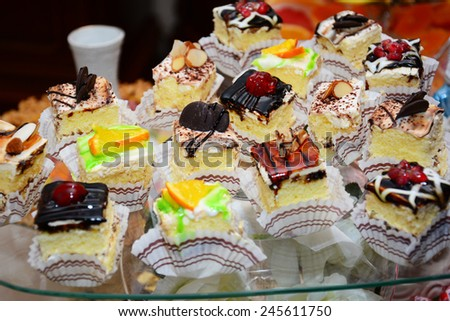 Homemade creamy cakes - stock photo