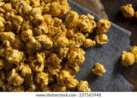 Homemade Crunchy Caramel Popcorn Ready to Eat - stock photo