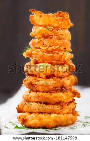 Homemade crunchy fried onion rings - stock photo