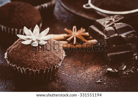 Homemade cupcakes decorated with cocoa powder. Selective focus - stock photo