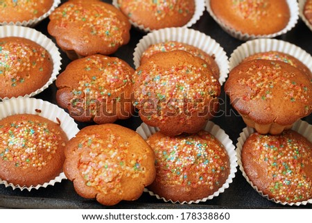 homemade cupcakes with sprinkles color