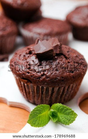 Homemade delicious chocolate muffin close-up