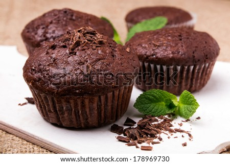 Homemade delicious chocolate muffins close-up - stock photo