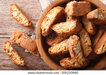 Homemade delicious cookies biscotti with almonds close-up on the table. horizontal view from above